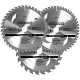 Silverline 408979 Hartmetall-Kreissägeblätter mit 24, 40 und 48 Zähnen, 3er-Packung 205 x 30, Reduzierstücke: 25, 18 und 16 mm