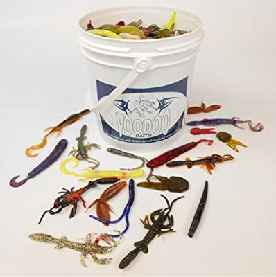 1 Gallon Critter Grub Bucket - Approx 500 Soft Fishing Lures 2-7 from VooDoo Baits