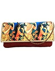 Bhamini Jute Clutch With Digital Print On Flap With Golden Brocade Border (Red)