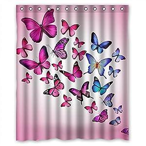 Relax Pink Butterfly Purple Butterfly Pink Background Waterproof Shower Curtain 60