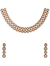 Divya Collection Elegant Design American Diamond Kundan Necklace Set For Women - B00WS71Y6W