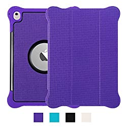 iPad Pro 9.7 Case, IPHIGENIA Lightweight Leather Flip Stand Case with Silicone Dual Layer Protection Shockproof Magnetic Smart Cover Case Support Sleep and Awake Function Purple