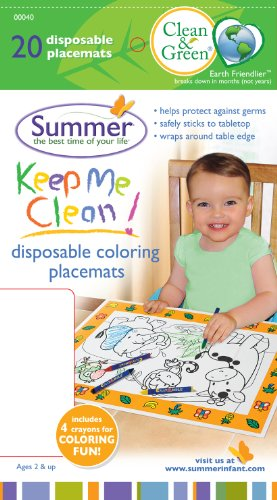 Summer Infant Clean & Green Disposable Colouring Placemats 20 pk - 1