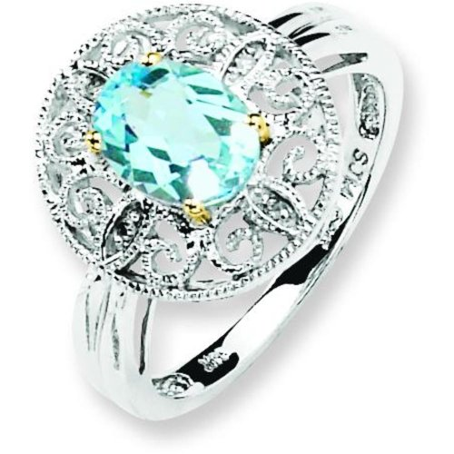 Sterling Silver 14K Gold Ij Sky Diamond & Topaz Ring Sz 7