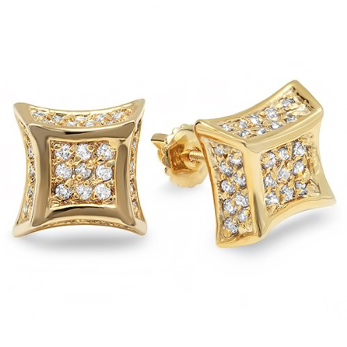 18k Yellow Gold Plated CZ Cubic Zirconia Kite Shaped Hip Hop Iced Cube Stud Earrings (10.5 mm Wide x 4.5 mm High)