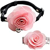Imported Dog Cat Puppy Rose Flower Lace Bell Hair Pin Bows Neck Tie Collar Set Pink