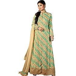 Vasu Saree Capricious Georgette Embroidered Beige and Green Designer Floor Length Suit