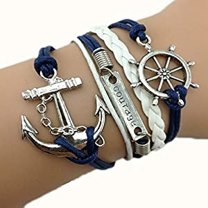 bracelet infini ancre karma infinity bleu marine fabulous bijoux. Black Bedroom Furniture Sets. Home Design Ideas