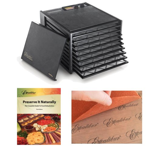 Excalibur 9 Tray Dehydrator W/ 26 Hour Timer In Black + Accessory Kit front-521784