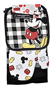 Disney Oven Mitt Pot Holder & Dish Towel Mickey Minnie Mouse 3 pc Kitchen Set