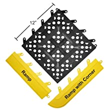"Wearwell PVC 540 FIT Functional Interlocking Anti-Fatigue Ramp, for Wet Areas, 3"" Width x 12"" Length x 5/8"" Thickness, Yellow (Pack of 20)"
