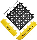 "Wearwell PVC 540 FIT Functional Interlocking Anti-Fatigue Tile, for Wet Areas, 12"" Width x 12"" Length x 5/8"" Thickness, Black (Pack of 20)"