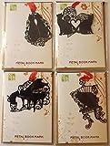 おしゃれ で 可愛い 黒猫 シルエット ブックマーク しおり 本にも インテリアにも 4枚セット (ラブ猫、ハート猫、ピアノ猫、椅子猫)