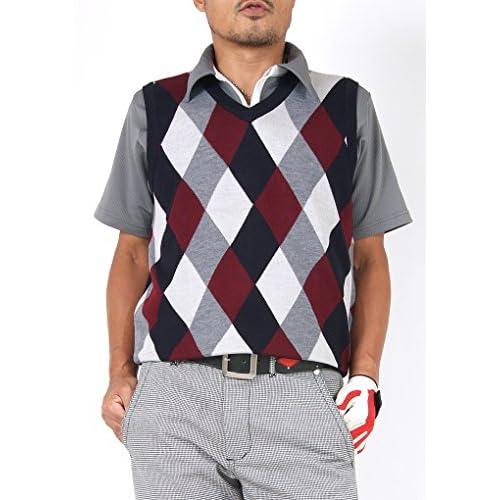 【サンタリート】 Santareet ウール混 アーガイル ゴルフ ベスト M レッド