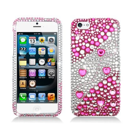 Special Sale Iphone 5 (Sprint/ At&t/ Cricket/ Verizon) Luxury Full Diamond, Layer Pink with Heart