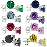 8-Pair Set Sterling Silver Color Cubic Zirconia Stud Earrings 5 mm Emerald, Blue Sapphire, Blue Topaz, Amethyst, Ruby, Pink, Black & Yellow Zircon Colors)