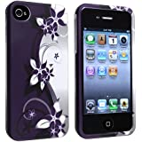 eForCity Compatible with Snap-on Rubber Coated Case with Apple® iPhone® 4 / 4S , White / Purple Flower