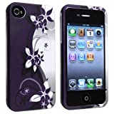 Snap-on Case with Apple iPhone 4 / 4S , White / Purple Flower