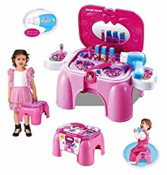 Smart Picks Carry Along Battery Operated Real Action Beauty Set Toy Storage Sitting Stool