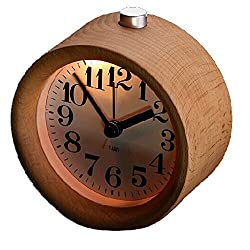 ASSIS Alarm Clock, Small Round Classic Wood Silent Desk Travel Alarm Clock With Nightlight