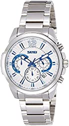 Skmei Analog White Dial Mens Watch - 9108SSW