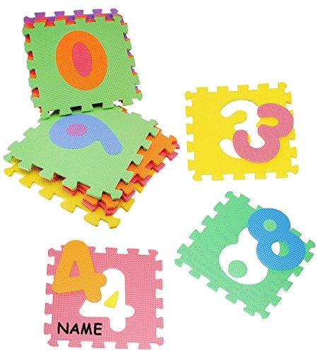 Set: Puzzle Teppich aus Mossgummi - 10 Matten & Zahlen von 0 - 9 - incl. Name - zum puzzeln / Puzzleteppich EVA - Spieleteppich Puzzlematte - Spielmatte Kinderteppich - Bodenmatte - Matte / Spielteppich - für Kinder - Puzzleteppich - Kinderspielteppich / Lernteppich - Schaumstoff / Bodenschutzmatte - Zahl Rechnen lernen