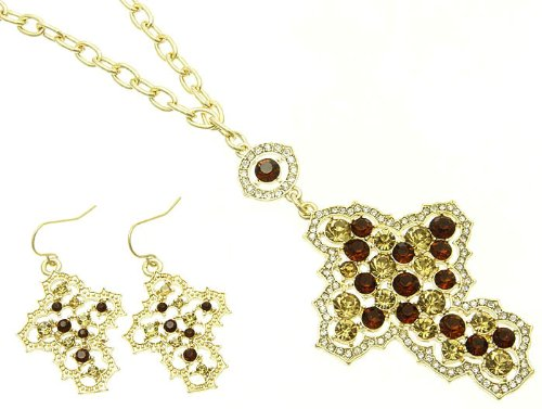 NECKLACE AND EARRING SET METAL CHAIN CRYSTAL STONE PAVED BROWN Fashion Jewelry Costume Jewelry fashion accessory Beautiful Charms