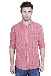 Showoff Men's Full Sleeves Slim fit Red Checkered Casual Shirt