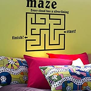 Great Value Wall Decor Vinyl Removable Maze Wallpaper Wall Stickers Decals with Labyrinth Pattern Large Size Black by Mzamzi