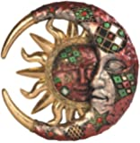Red Cracked Mosaic Crescent Moon and Sun Wall Plaque Decoration