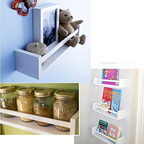 Set of 2 White Multi-purpose Wood Shelf Nursery Room, Kitchen Spice Rack, Bathroom Shelf
