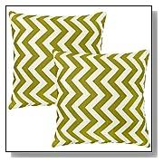 Zig Zag Village Green Toss Pillows Set of 2