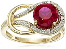 buy Created Ruby And Diamond Accent Love Knot Ring In 10K Yellow Gold, Size 5