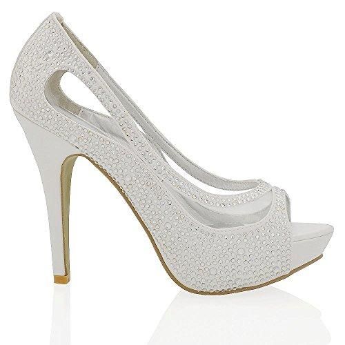Essex Glam Scarpa Sposa Peep Toe Bianco Satinato Diamante Tacco Alto Plateau EU 38