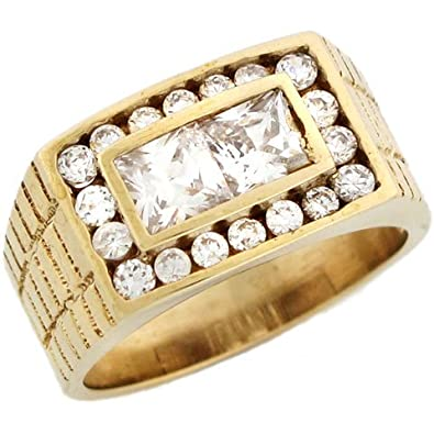14ct Yellow Gold Rectangle Mens Square And Round CZ Ring With Engraving