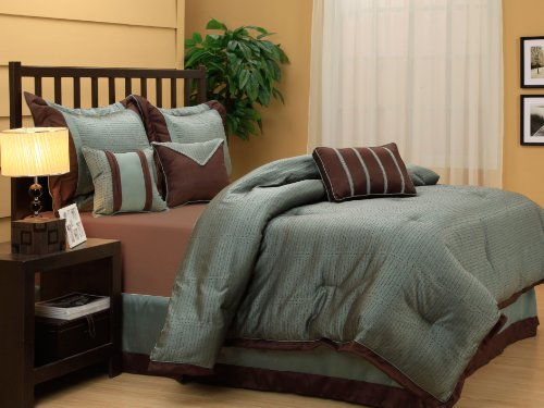 Nanshing Tobey Queen 7-Piece Jacquard Comforter Set, Aqua/Chocolate