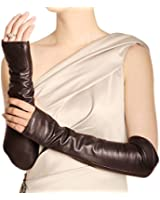 Warmen Women Genuine Nappa Leather Elbow Long Fingerless Driving Gloves ARM Warmer