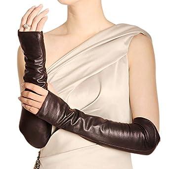 WARMEN Women Genuine Nappa Leather Elbow Long Fingerless Driving Gloves for Fur Coat (L, Brown)