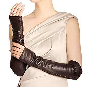 WARMEN Women Genuine Nappa Leather Elbow Long Fingerless Driving Gloves for Fur Coat (S, Brown)