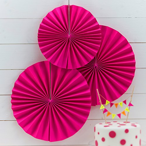 Ginger Ray Neon Fan Pin Wheel Decorations for Wedding or Party 3 Pack, Pink