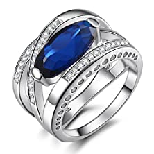 buy Caperci Sterling Silver Cross Big Large Stone Created Blue Sapphire Gemstone Cubic Zirconia Ring Size 7