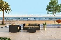 Hot Sale Urbana 3 Piece All-Weather Wicker Outdoor Sofa Set with Sunbrella Heather Beige (5476-0000) Cushions