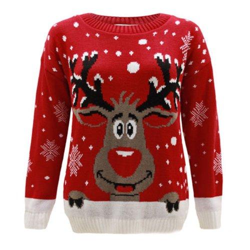 Generazione Fashion da donna a forma di renna Rudolph Natale Maglione Top Plus Size 16202224262830 Red Small