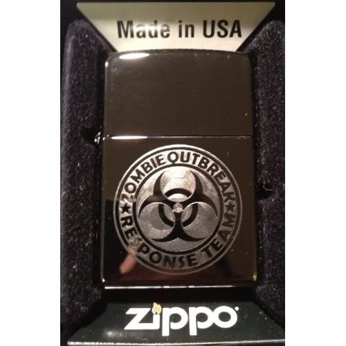 Zippo Custom Lighter   Biohazard Toxic Seal Zombie Outbreak Response Team Logo Black ICE High Polish Chrome Rare