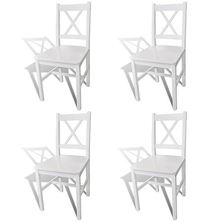 vidaXL 4 Sillas Blancas de Comedor Hechas de Madera de Pino