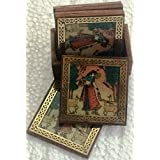 Traditional Rajasthani Gem And Wooden Coaster_TR_Coaster_003