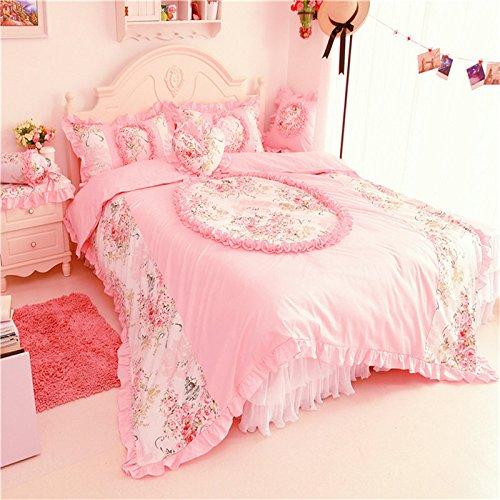 Textile / Korean Princess Cotton Lace Bedspread Bed Skirt 4Pcs Set front-871887