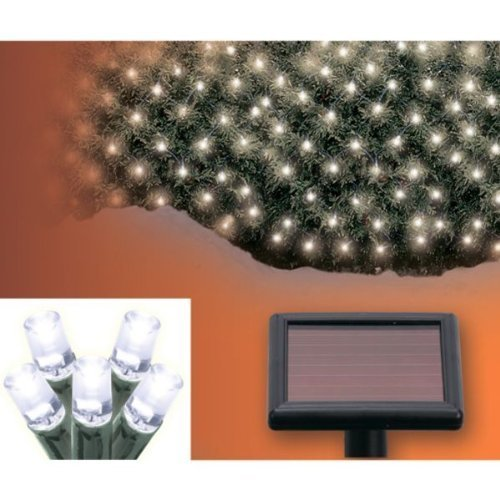 Aleko® Sl5804-N200W Solar Powered White 200 Led Net Lights For Christmas, Weddings And Other Outdoor Decorations