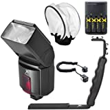 Big Mike'S 500Ex Pro Series Digital Dslr Dedicated Camera Flash Kit For Canon Digital Eos Rebel Sl1 T1I T2I T3 T3I T4I T5I Xsi Xs Xti Eos60D Eos70D 50D 40D 30D Eos5D Eos6D Eos7D Eos5D Mark Iii Eos Digital Slr Cameras