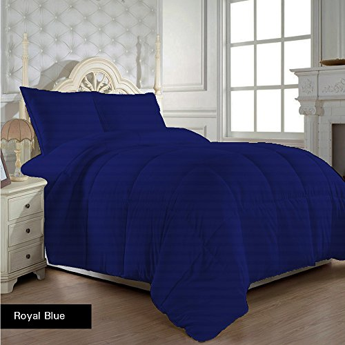 500TC 100 GSM 5pc Comforter + Sheet Set King Egyptian Blue Stripe 100% Egyptian Cotton